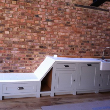 We loved the brick wall in this London kitchen